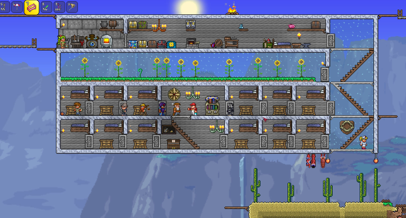 Simple Example Of A Small Terraria Base Guide And