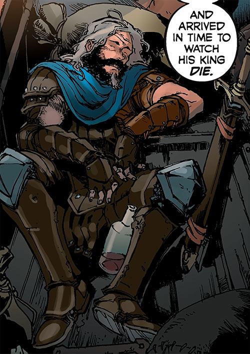 Ser Aaron Hawthorne (Dragon Age: Knight Errant comic) sleeping drunk