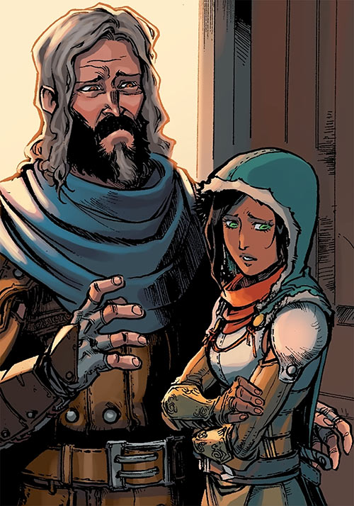 Ser Aaron Hawthorne (Dragon Age: Knight Errant comic) and Squire Vaea