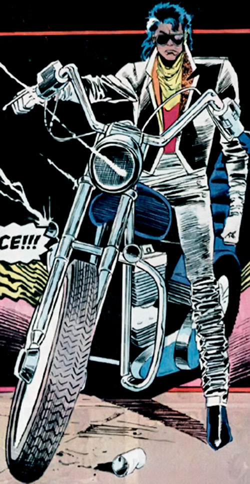 Ace (Spider-Man character) (Marvel Comics) on a motorcycle