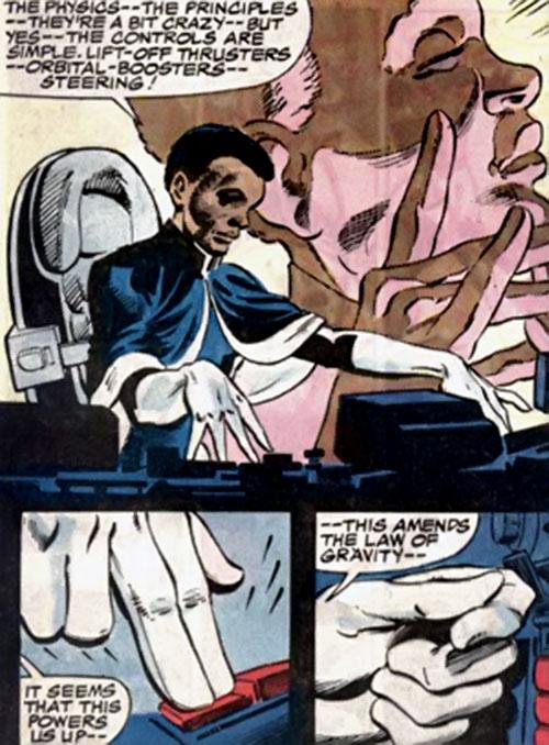 Adept of the Strikeforce Morituri (Marvel Comics) analyzing an alien cockpit