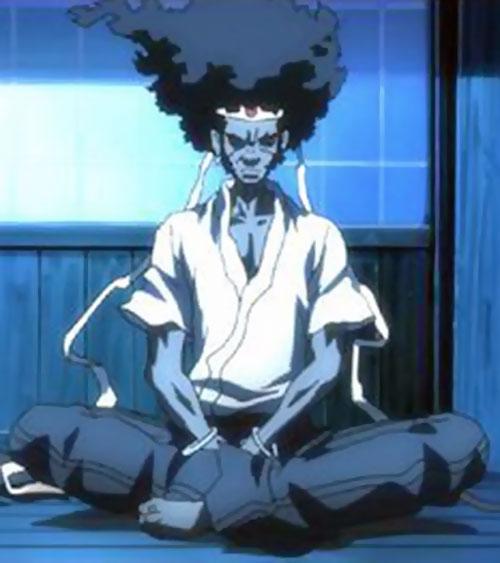 Afro Samurai meditating