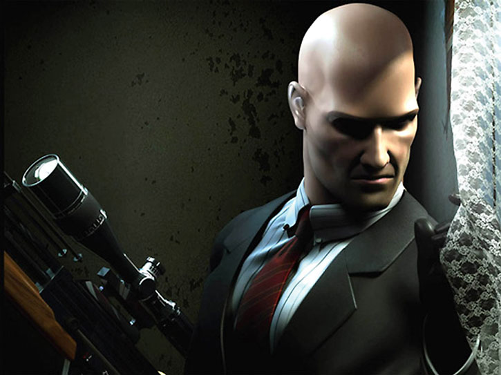 Agent 47 peering from a window