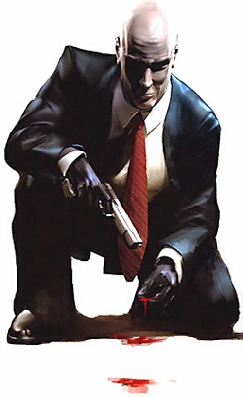 Agent 47 (Hitman) examining a blood trail