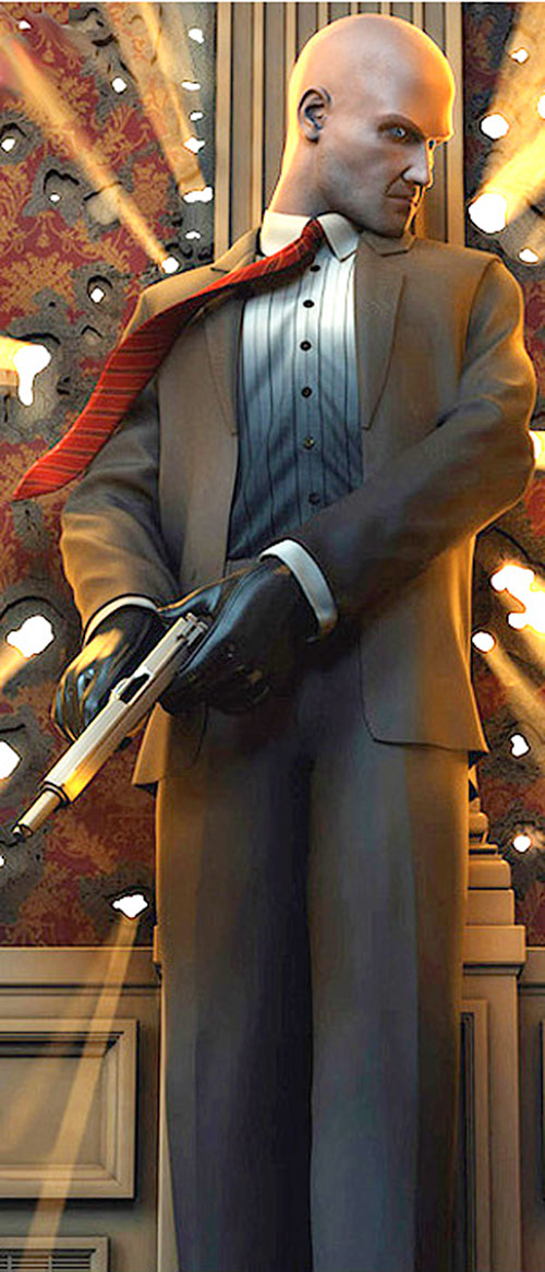 Agent 47 (Hitman) reloading behind cover