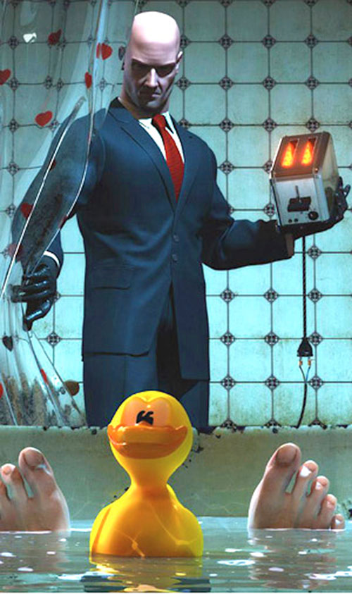 Hitman, plastic duck and toaster