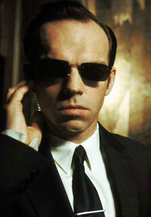 Agent Smith (Hugo Weaving in The Matrix) with sunglasses and wire