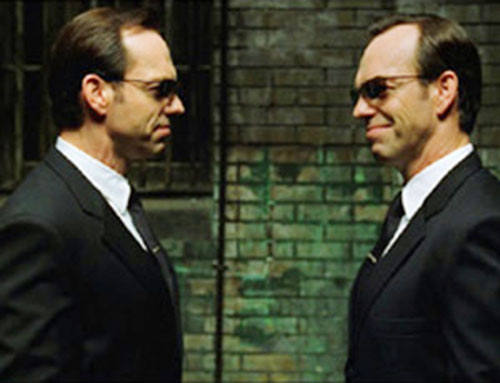 Agent Smith (Hugo Weaving in the Matrix) doubled