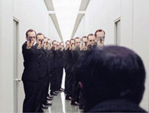 Corridor full of Agent Smiths (Hugo Weaving in the Matrix)