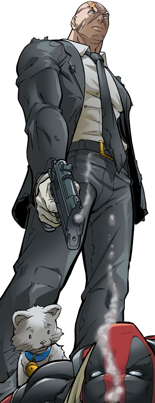 Agent X (Marvel Comics) in a black suit shot Deadpool