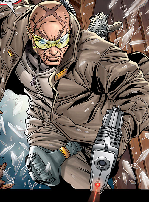 Agent X (Marvel Comics) crashing through a window with guns