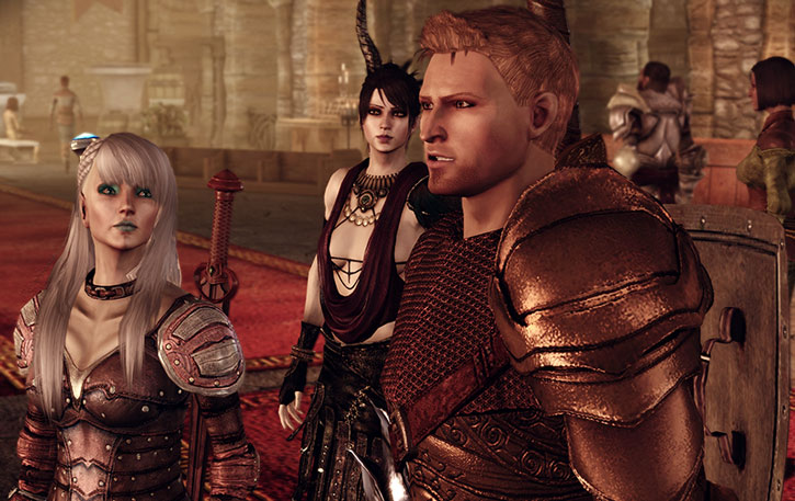 Alistair at a Chantry, with Morrigan and Alamen