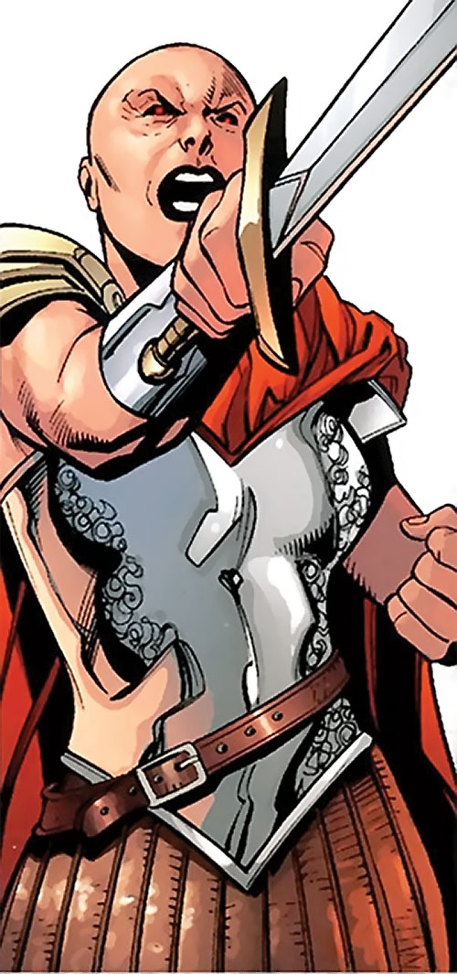 Alkyone (Wonder Woman character) (DC Comics) with red eyes pointing her sword