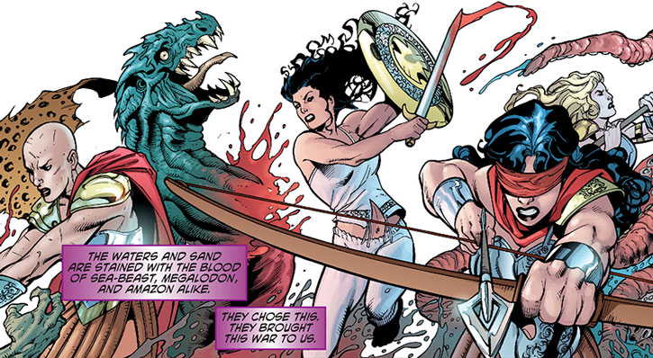 Alkyone and the Circle fighting along with Hippolyta