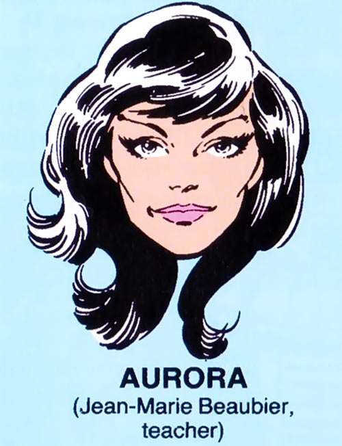 Aurora of Alpha Flight (Marvel Comics) mugshot on blue background