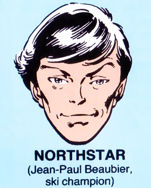 Northstar of Alpha Flight (Marvel Comics) mugshot on blue background