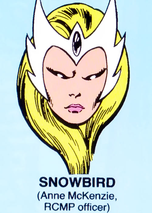 Snowbird of Alpha Flight (Marvel Comics) mugshot on blue background