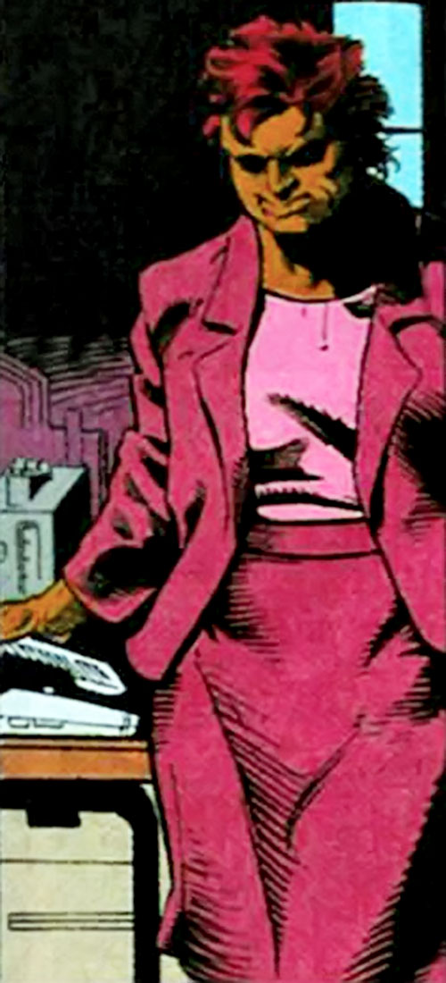 Amanda Waller of the Suicide Squad (DC Comics) in a pink purple suit