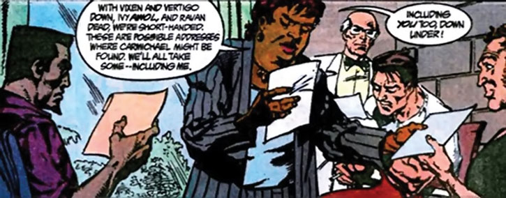 Amanda Waller briefing the Squad