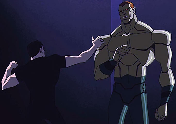 Amazo (Young Justice animated version) facing Superboy