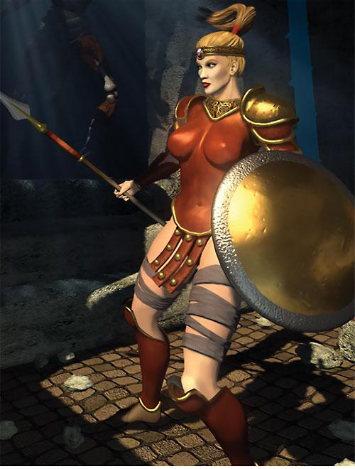 Diablo 2 Amazon with javelin and shield