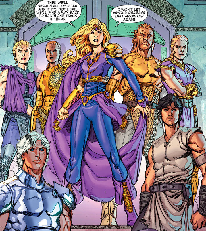 Amethyst and her allies at the end of the Sword of Sorcery run