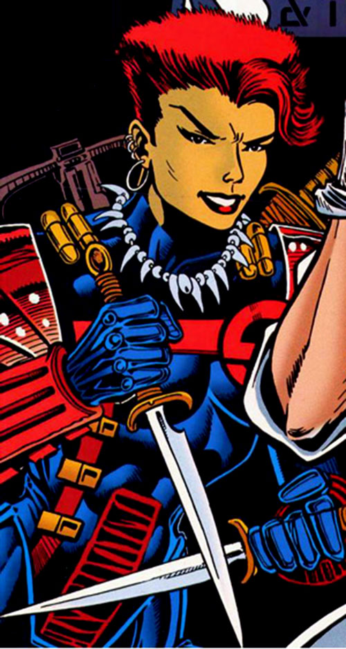 Amy Chen (Silver Sable ally) (Marvel Comics) with crossbow and knives