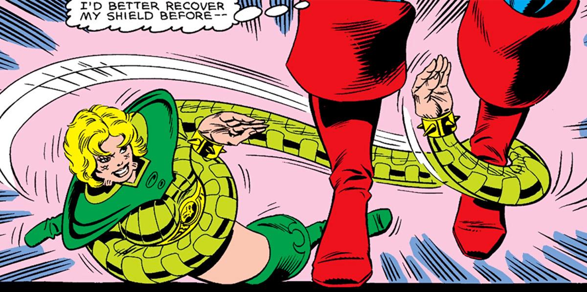 Anaconda grabs Captain America's ankles