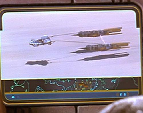Anakin Skywalker (Star Wars episode 1) - view of a podracer