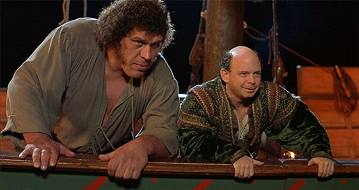 Andre the Giant as Fezzik in The Princess Bride, with Wallace Shawn (Vizzini)