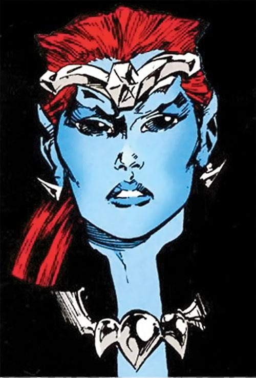 Andromeda Attumasen (Marvel Comics) face closeup over a black background