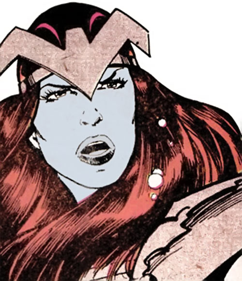 Andromeda Attumasen (Marvel Comics) blue face closeup