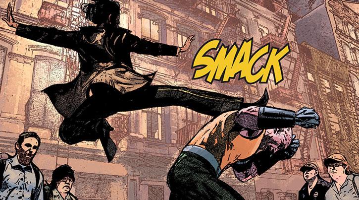Angela del Toro kicking the Gladiator
