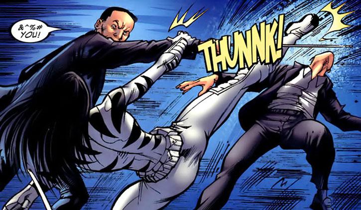 White Tiger fighting a pair of yakuza