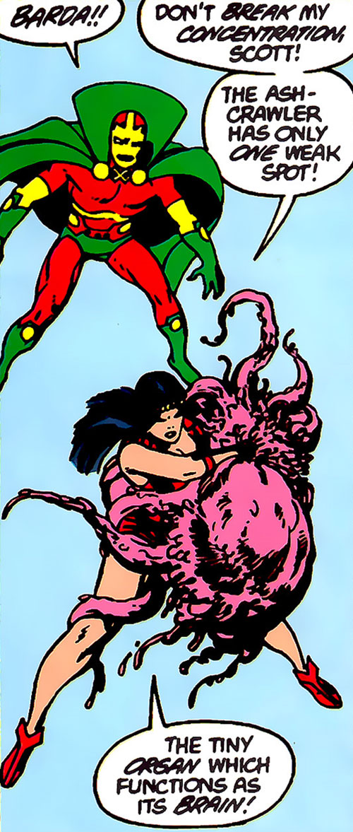 Big Barda fights an Ash-Crawler from Apokolips next to Mister Miracle