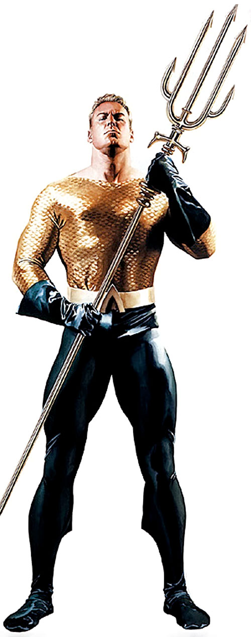 Aquaman in the classic costume, with a trident