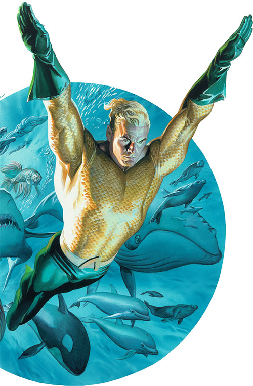 Aquaman leading an army of fishes and cetaceans
