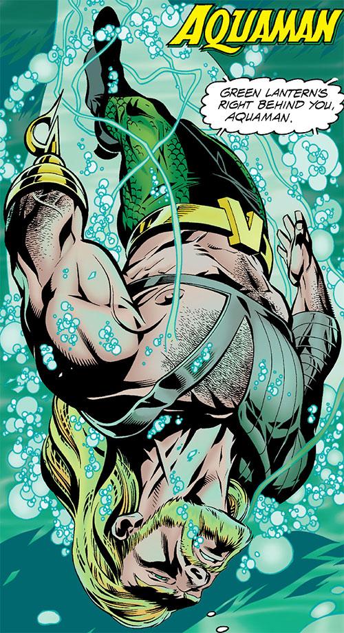 Aquaman diving straight down