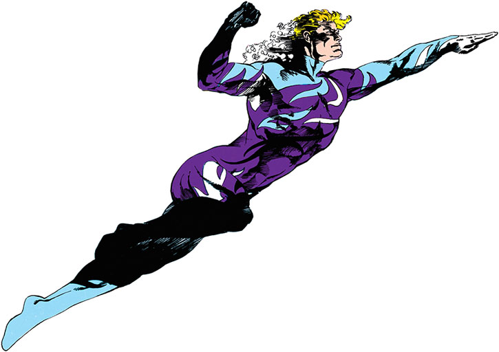 Aquaman in his mid-1980s blue camouflage costume