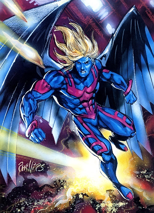 Archangel (X-Factor) (Marvel Comics) without his hood, by Phillips