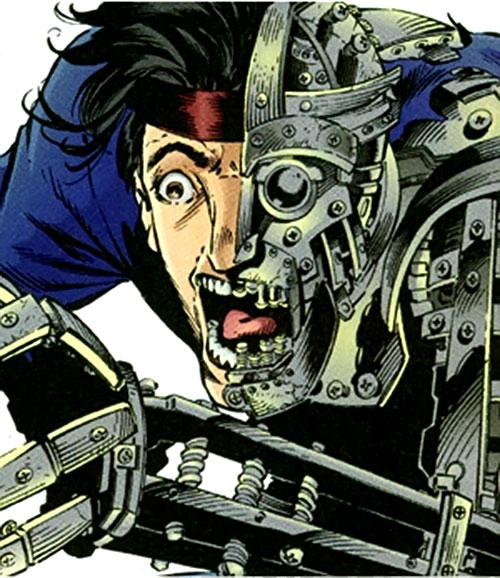 Arcimboldo (Sovereign 7 enemy) (DC Comics) power example - half-mechanical person