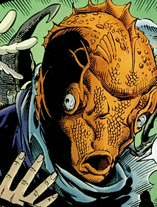 Arcimboldo (Sovereign 7 enemy) (DC Comics) power example: fish head