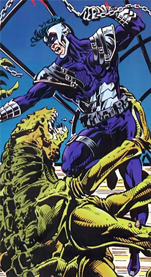 Argus (DC Comics) with his first costume fighting a Bloodlines alien