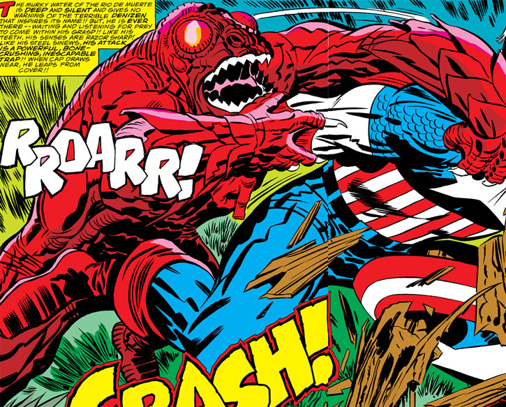Arnim Zola's Man-Fish creature vs. Captain America