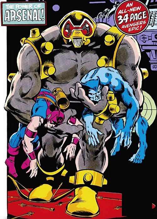Arsenal robot (Marvel Comics Avengers) defeats the Beast and Hawkeye