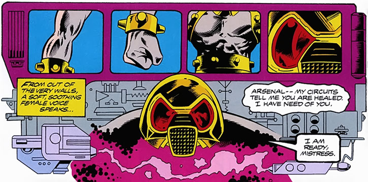 Arsenal robot activating underneath Avengers' Mansion