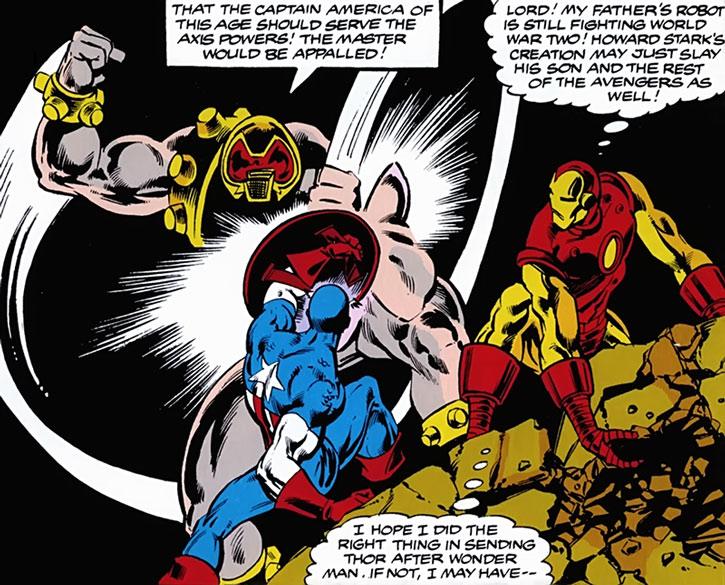Arsenal robot vs. Captain America and Iron Man