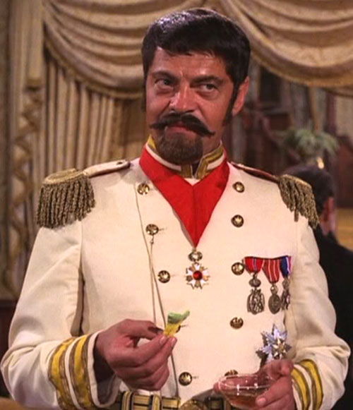 Artemus Gordon (Ross Martin in Wild Wild West) disguised as a moustachioed officer in white