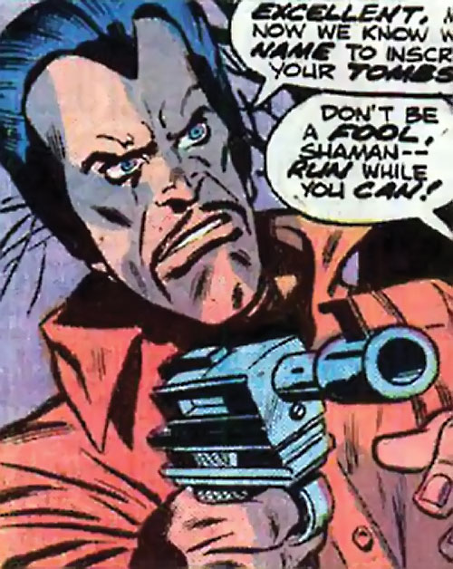 Arthur Shaman (Defenders / Ms. Marvel enemy) (Marvel Comics) pointing a laser pistol