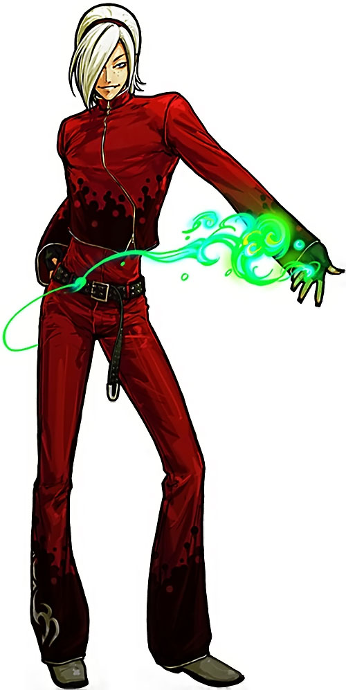 Ash Crimson from King of Fighters posing while doing a green flame